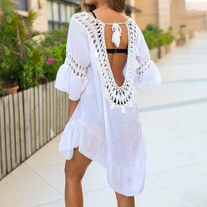 Women's Kute Bathing Suit Cover Up White